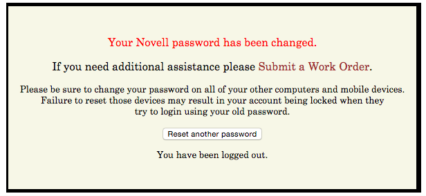 Novell password successful change message