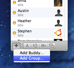 iChat screenshot: Add someone using the + sign on the bottom-left