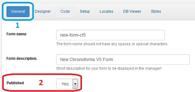 ChronoForms: Publicar Formulário