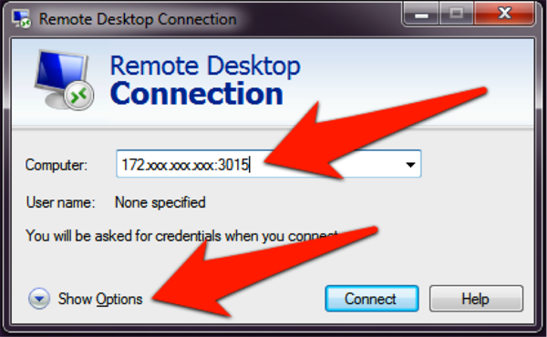 "Remote Desktop Connection screenshot: Press ""Show Options"" on the left-hand corner of the window"