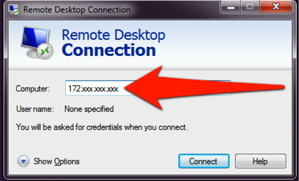 Screenshot of Remote Desktop Connection window: Type the IP address into Computer field