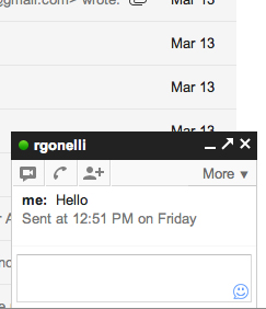 Gchat screenshot: Chat with someone by clicking their name and typing into the box