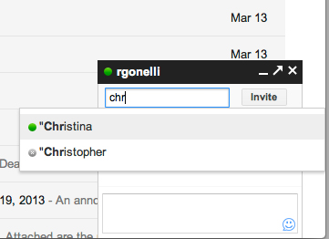 Gchat screenshot: Type the contact's name and click on their name to invite them