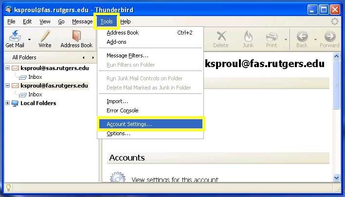 Thunderbird screenshot: Go to Tools at the top of the window and find Account Settings
