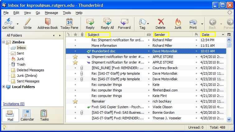 Thunderbird screenshot: Shows different ways to sort all messages