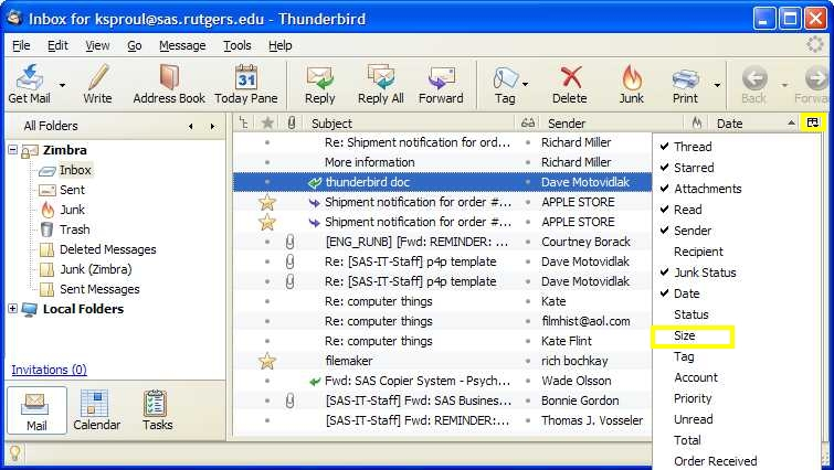 "Thunderbird screenshot: Select ""Size"" by clicking on small box on far right"