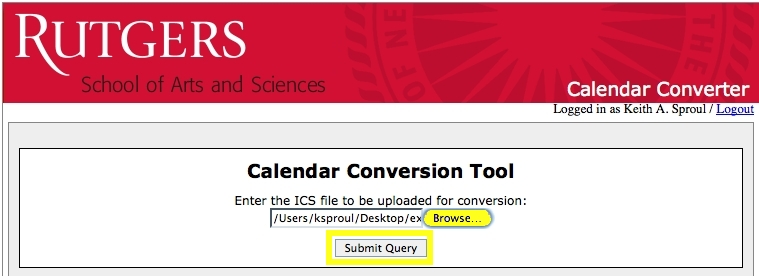 "Calendar Conversion Tool screenshot: Click ""Browse"" to find the file then press ""Submit Query"""