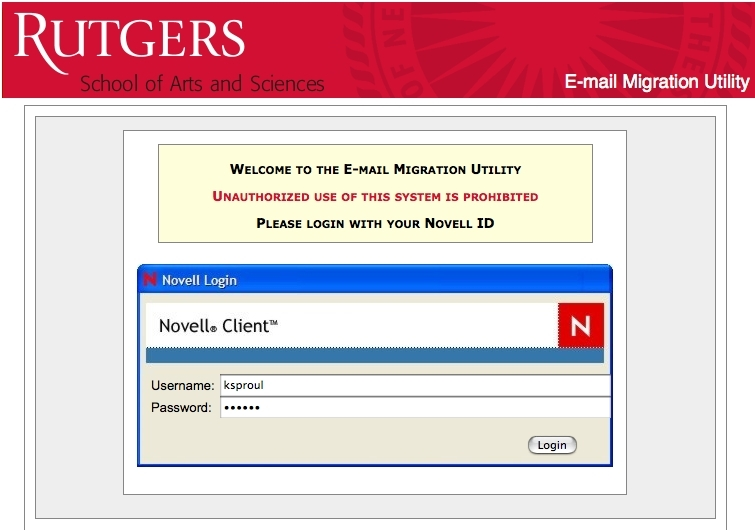 Email Migration Utility screenshot: Log in using your NOVELL ID