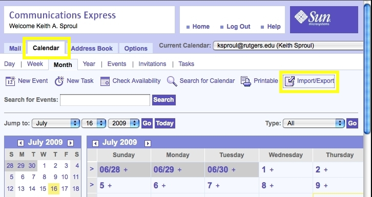 "Sun Calendar screenshot: Click on ""Import/Export"" on the right hand side of the Calendar"
