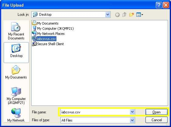 "Windows File Upload window screenshot: Select the file and press ""Open"" near the bottom right"