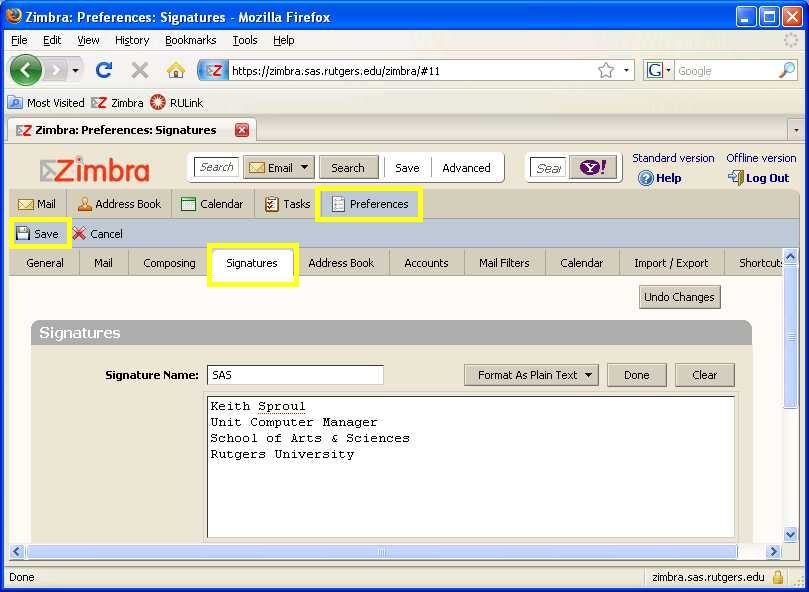 "Zimbra screenshot: Go to ""Preferences"" then ""Signatures"" and ""Edit"""