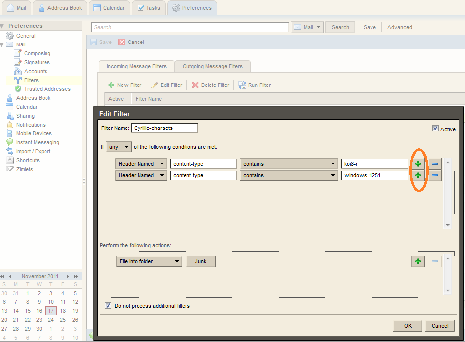 Zimbra screenshot: Naming the filters, Click the + button near the right of the window